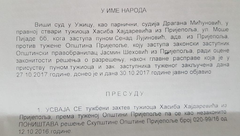 Presuda Višeg suda iz Užica / Foto: www.ppmedia.rs